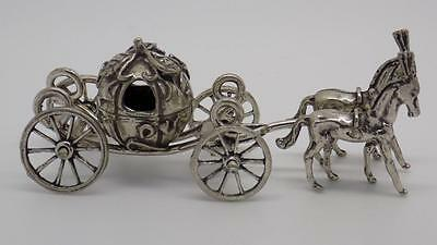 44g Vintage Solid Silver Carriange w/t Two Horses Miniature - Stamped - Italian
