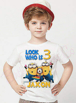 Minions Birthday Shirt Custom Name and Age Personalized DespicableMe Minions Tee