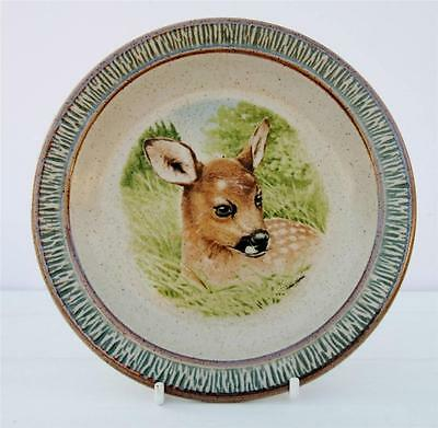 Vintage Purbeck Pottery Plate Deer Fawn