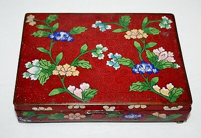 Antique Chinese Cloisonne Divided Cigarette Box, Card Box. @1900. Marked China.