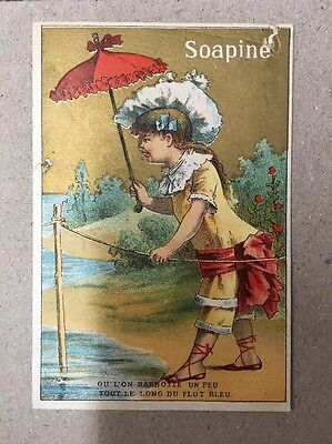 Victorian Trade Card Soapine Kendall Mfg Co Providence RI Girl Umbrella