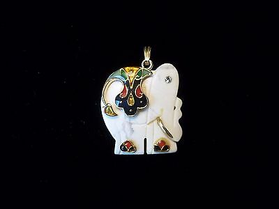 Vintage Marble Elephant Pendant With 14Kt Gold Accents/ Made In India