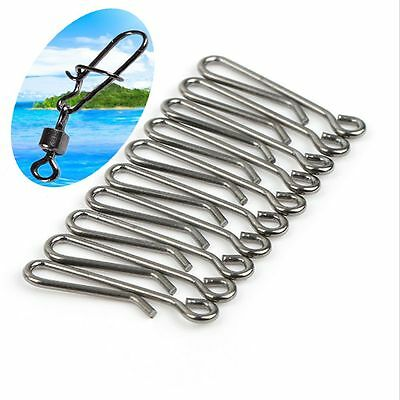 50Pcs Quality Hanging Snap Barrel Swivel Stainless Steel Fishing Connector