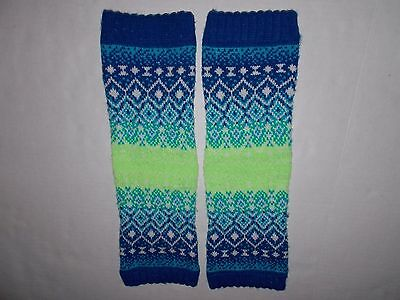 Justice Girls Leg Warmers Blue Green & White Sparkles Acrylic Material One Size