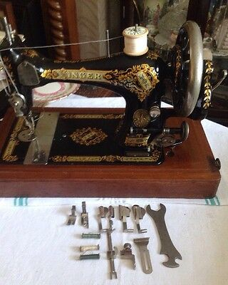 Antique SINGER sewing machine Model 28 With Case & Accessories 1897