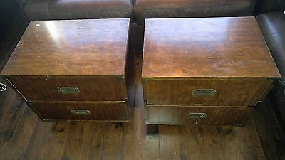 Pair of CAMPAIGN STYLE 2 DRAWER NIGHTSTAND IN BY DIXIE FURNITURE
