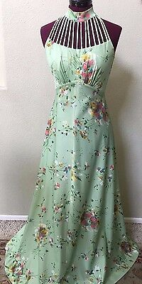 Vintage 1970's  Long Mint Green Floral Dress With Capelet