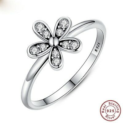 Fashion Jewelry 925 Silver Flower White Topaz Wedding Engagement Ring Size 6-10