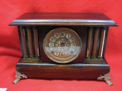 Vintage  Gilbert Mantle Column Clock With Key  Chimes