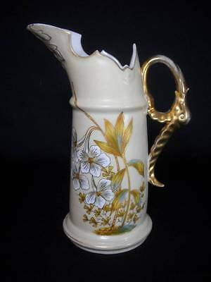 Victoria Carlsbad Austria Hand Painted Pitcher Elephant Handle Circa 1891-1918