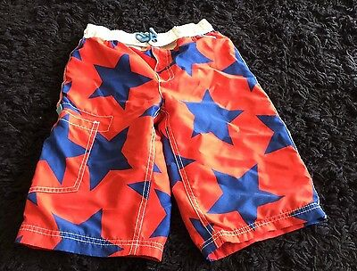 MIni Boden Board Shorts Red and Blue Stars Boys size 7-8