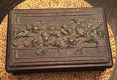Antique Hand Carved Wooden Flowers Leaves In Relief Box Chest