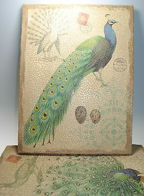 Set PEACOCK  accent wall art about 16.24 x 12 on burlap