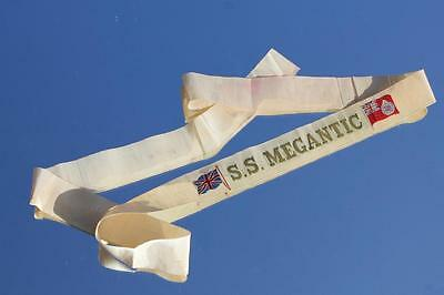 White Star Line Rms Ss Megantic Silk & Gold Wire Sailor Gala Night Ribbon Canada