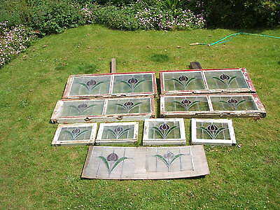 14 Matching Late Edwardian Stained glass Leaded Lights, Windows