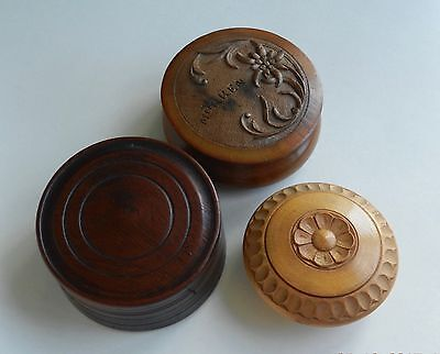 Lot of 3 Small Antique Vntg Turned Wooden Boxes Murren Switzerland Edelweiss