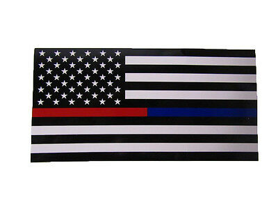 Wholesale Lot of 6 USA First Responder Thin Red Blue Line Decal Bumper Sticker