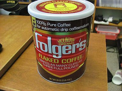 Vintage Mountain Grown Folger's Flaked Coffee Empty Tin Can 39 oz size with Cap