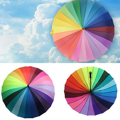24k Rainbow Umbrella Multicolour Windproof Pagoda Anti UV Wedding Party Favor