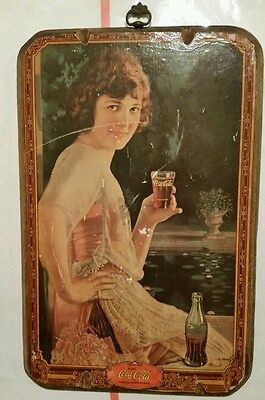 Vintage Coca Cola Victorian Lady Rustic Wooden Wood Picture Sign