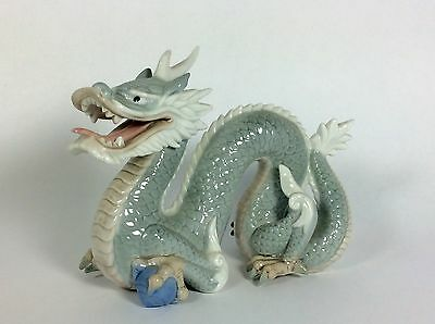 "Vintage Foo Dog Figurine Dragon with Crystal Ball Porcelain Ceramic 6"" Tall OBO"