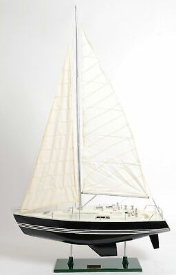 "Victory Yacht Painted Sailboat 29"" Built Handmade Wooden Model Ship Assembled"