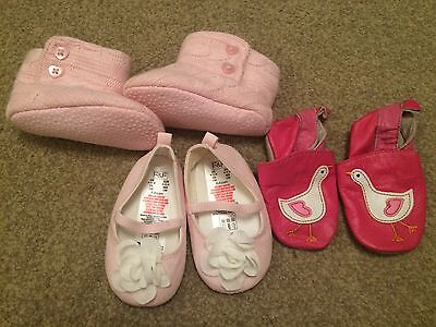 Three Pairs Of Baby Girl Shoes Age 6-12 Months