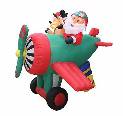 Animated Christmas Air Blown Inflatable Yard Decoration Santa Reindeer Airplane