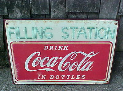 Coca Cola Filling Station Service Gas Garage Tin Metal General Store Sign 19""