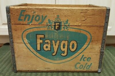 Vintage 60's Faygo Soda Pop Wooden Crate Detroit Michigan December 1965