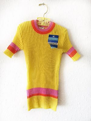 Vintage Kids 70s Girls Deadstock French Yellow Top Shirt 1 2 3 Y