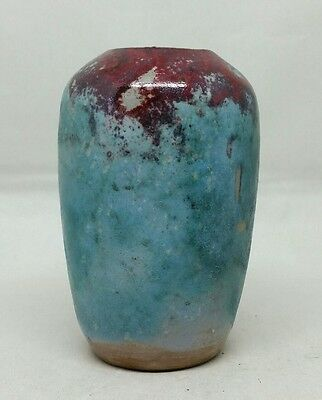 "North Carolina Jugtown Ware Chinese Glaze Vase w/ First Mark Miniature 4"" size"