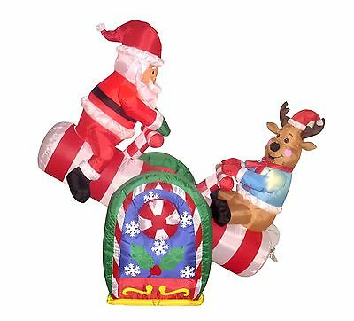 Animated Air Blown Christmas Inflatable Decoration Santa Reindeer Teeter Totter