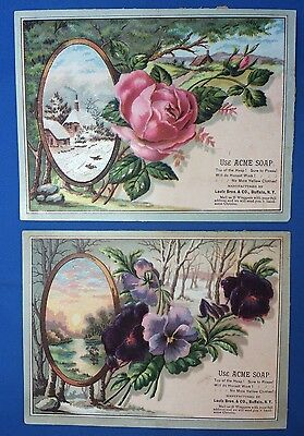 2 Antique ACME SOAP Lautz Advertising Embossed Victorian Trade Card Rose Violet