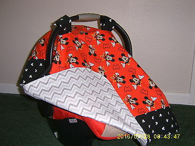** MICKEY MOUSE** w/chevron back Handmade Baby Infant Car Seat Canopy-Cover