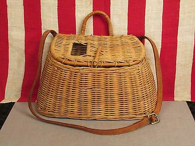 Vintage Fishing Wicker Creel Basket Weave w/ Leather Shoulder Strap Antique Fly