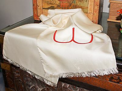 VINTAGE Late 1920s Ivory-colored Imported PURE SILK  BH Wragge Touring SCARF