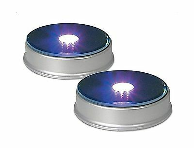 Generic Display Base LED Lighted Silver Mirrored Top Color Changing Lights - NEW