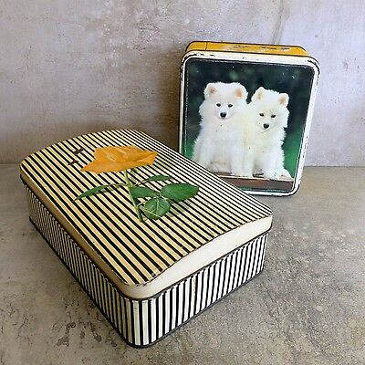 2 x Vintage Collectable Tins Yellow Rose White Puppies Very Aged and Worn Retro