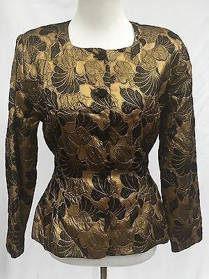 Vintage Prophecy est. size Small Evening Jacket Gold/Black Brocade Fitted