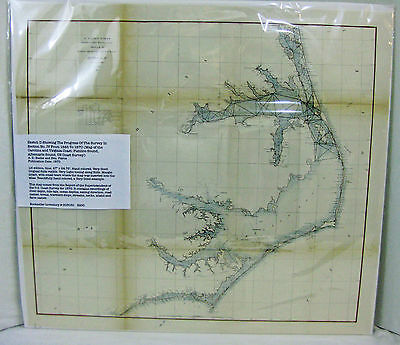 U.S. Coast Survey: Map of the Carolina (& Va) Coast 1870. Handcolored. Original