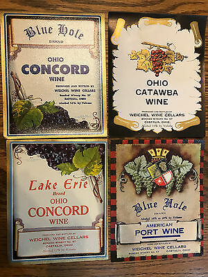 8 Rare Ohio Wine Labels Weichel Wine Cellars Castalia Ohio 1933-1958 Blue Hole