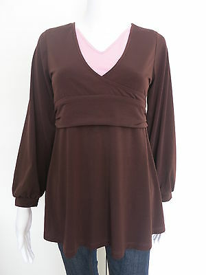 NEW Maternity Top Size 10 Long Sleeve  Brown