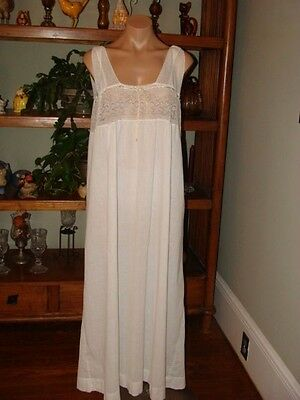 "Ladies/Womens Vintage Tekla Long Cotton Nightgown - Bust to 38"" - White"