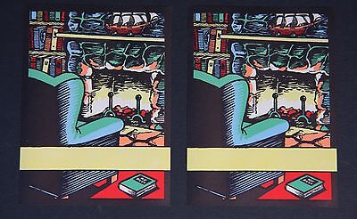 TWO Vintage ANTIOCH 1940s Bookplates - Library Scene w/ Fireplace - Colorful Art