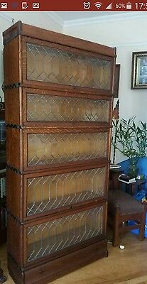 Antique Macey Barrister Lawyers Bookcase Leaded Glass Oak