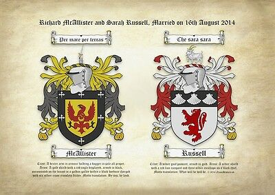 Double Coat of Arms on Ancient Parchment, Weddings, Anniversaries, Family Crests