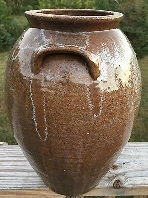 Spectacular Almost 14-inch Tall Rutile 3 Gallon NC Pottery Churn