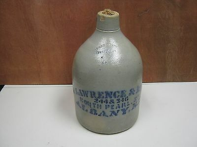 """Vintage 1 Gallon Stoneware """"R. Lawrence & Bros"""" Albany,NY West Troy Pottery"""