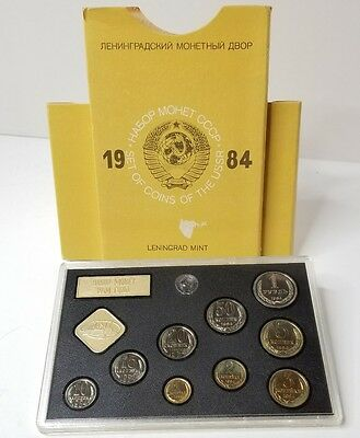 1984 Leningrad Mint Set Of Coins Ussr Uncirculated Sealed Condition Beautiful!